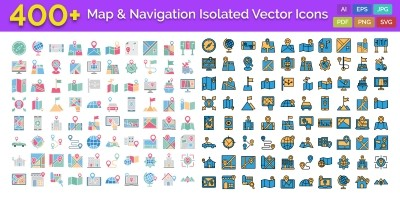 400 Map and Navigation Isolated Vector Icons