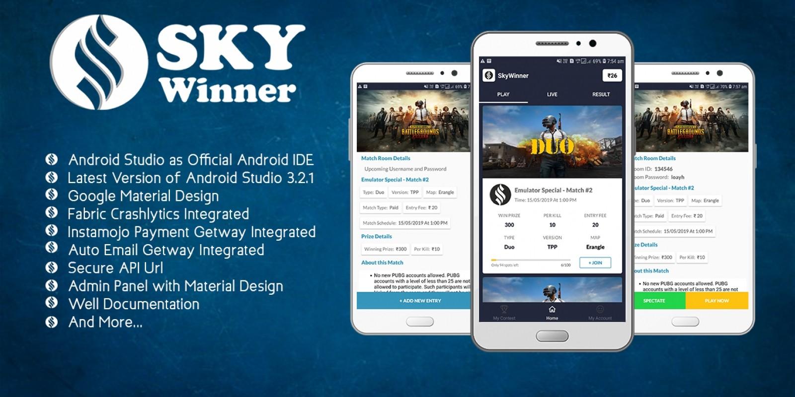 SkyWinner - PUBG Tournaments Organiser Android App