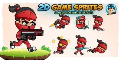RedGirl Ninja 2D Game Sprites