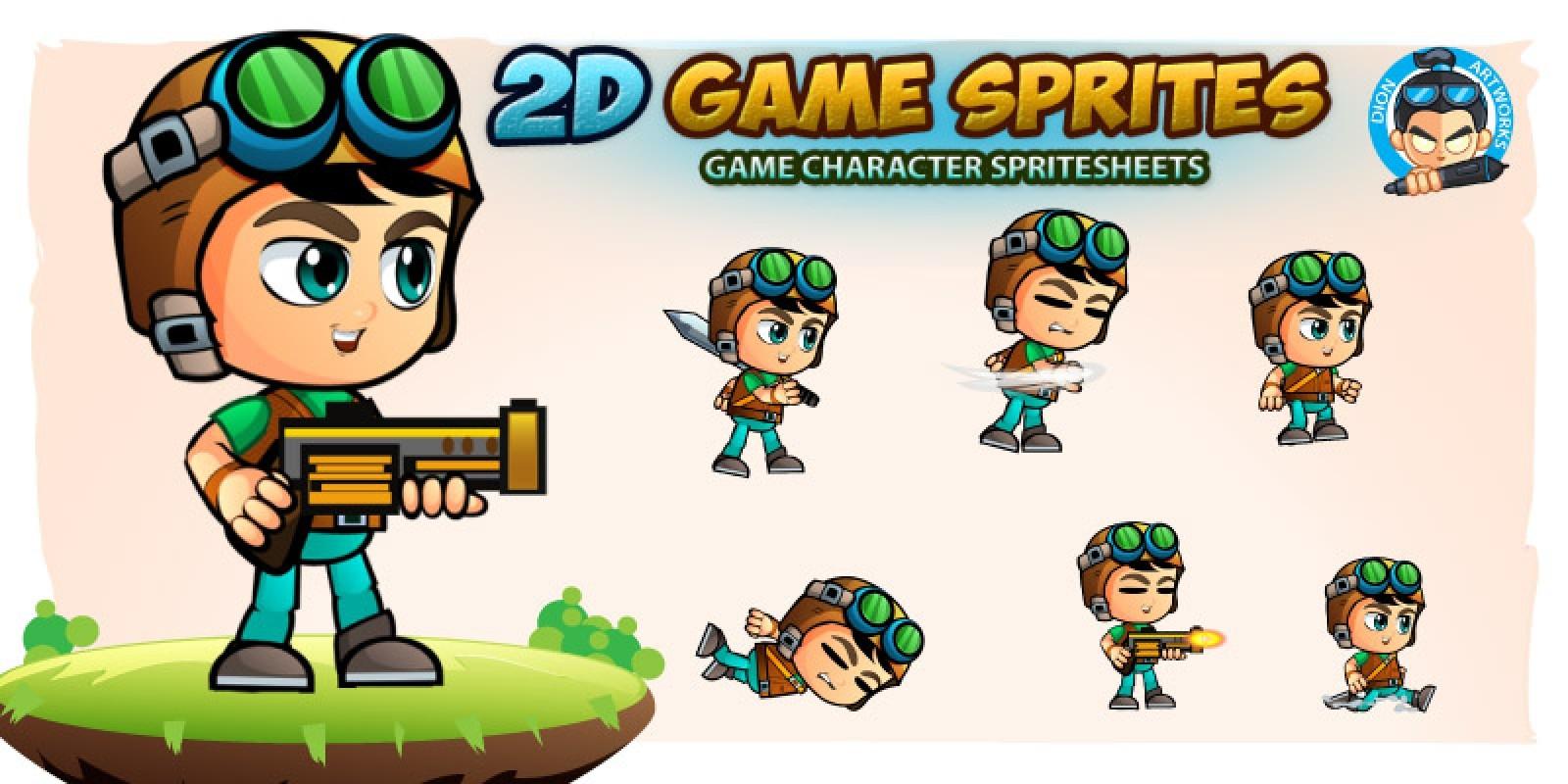 Aventurer Boy 2D Game Character Sprites