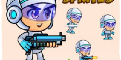 Space boy X001 2D Game Character Sprites