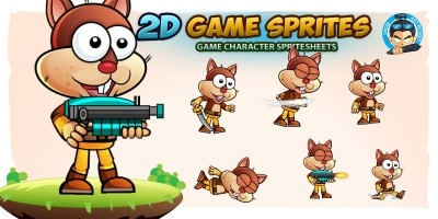 Squirrel Warrior 2D Game Character Sprites