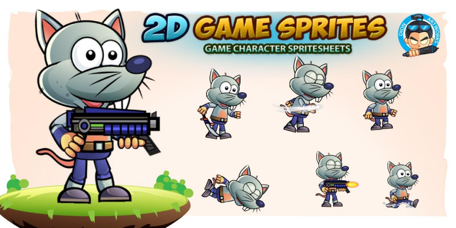 Rat Warrior 2D Game Character Sprites