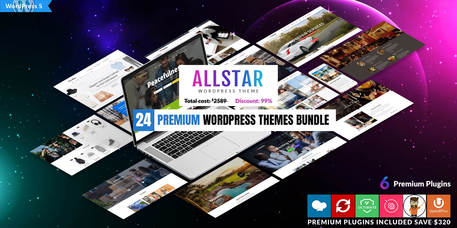 24 Premium WordPress Themes Bundle
