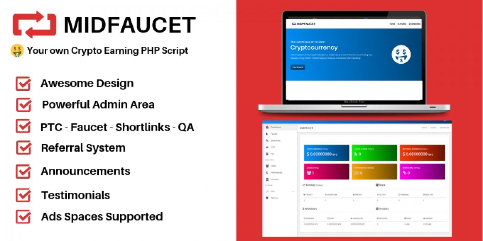 MidFaucet - Crypto Earning Faucet PHP Script