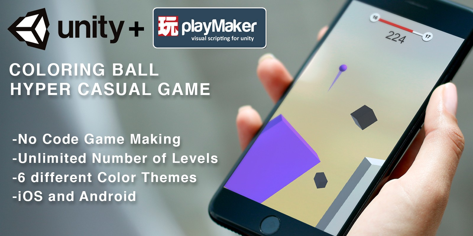 Coloring Ball - Unity and Playmaker Template