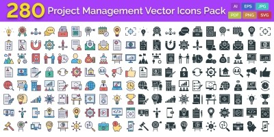 280 Project Management Isolated Vector Icons Pack
