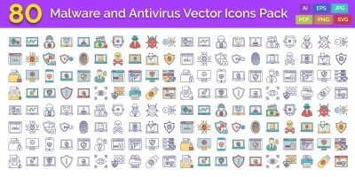 Malware And Antivirus Vector Icons Pack