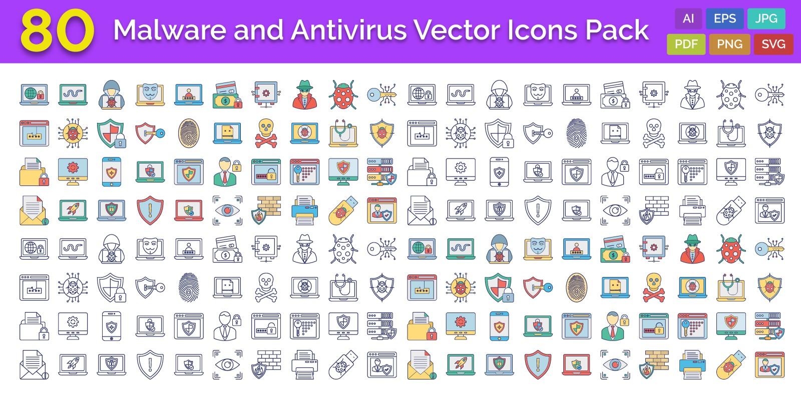 Malware And Antivirus Vector Icons Pack