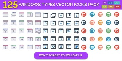 125 Windows Types Vector Icons Pack