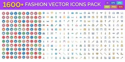 1600 Fashion Isolated Vector Icons Pack