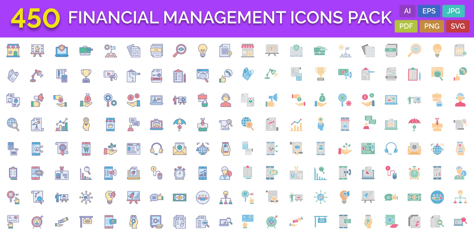 450 Financial Management Vector Icons Pack