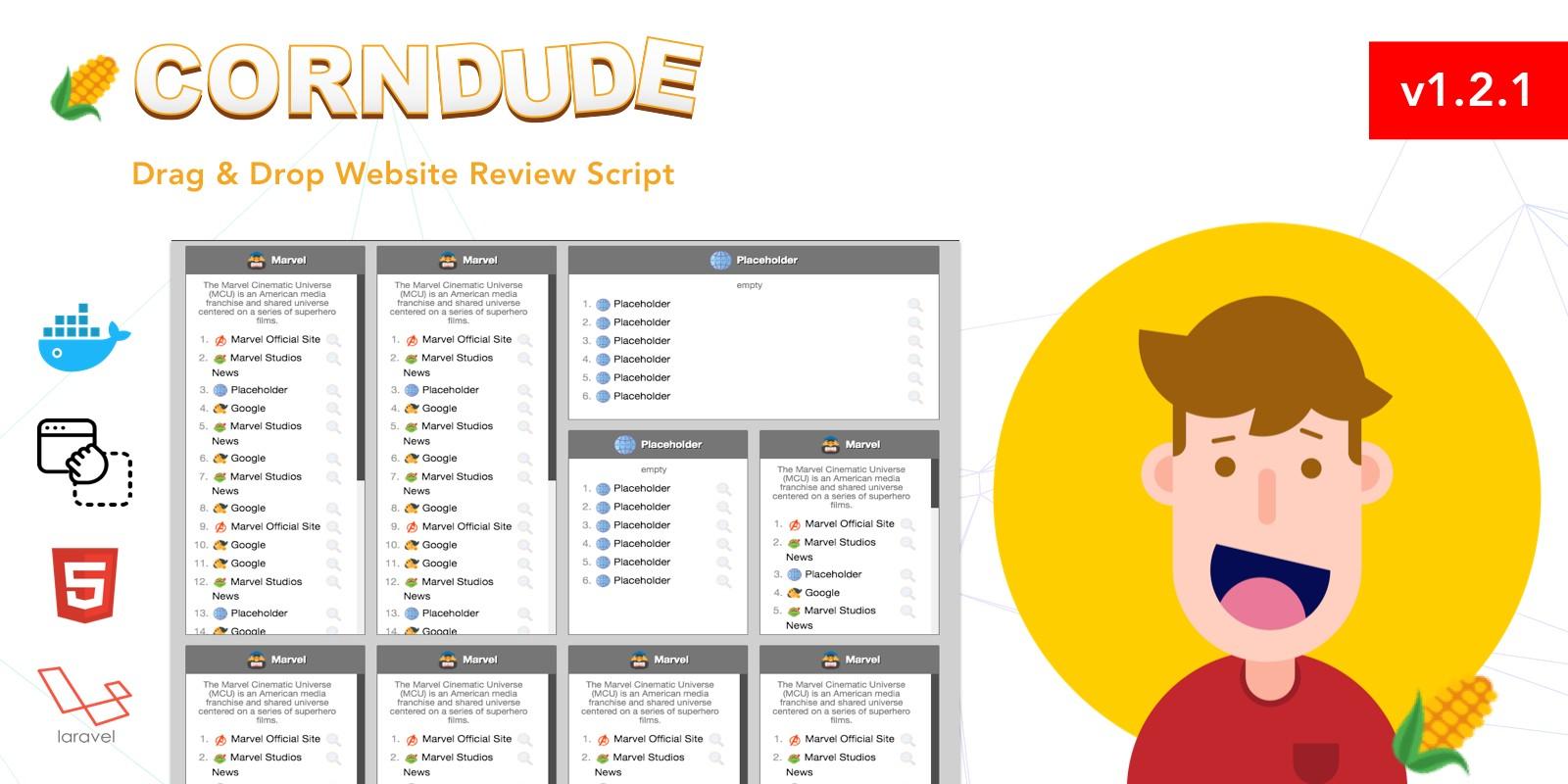 Corndude - Drag And Drop Website Review Script