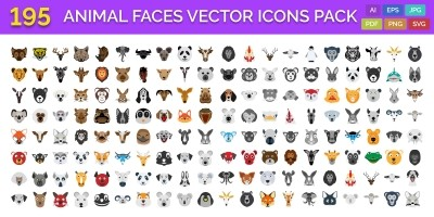 195 Animal Faces Vector Illustration Icons Pack