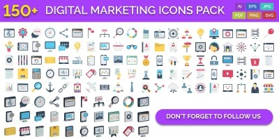150 Digital Marketing Vector Icons Pack
