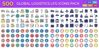 500 Global Logistics Line Fill Glyph Icons Pack