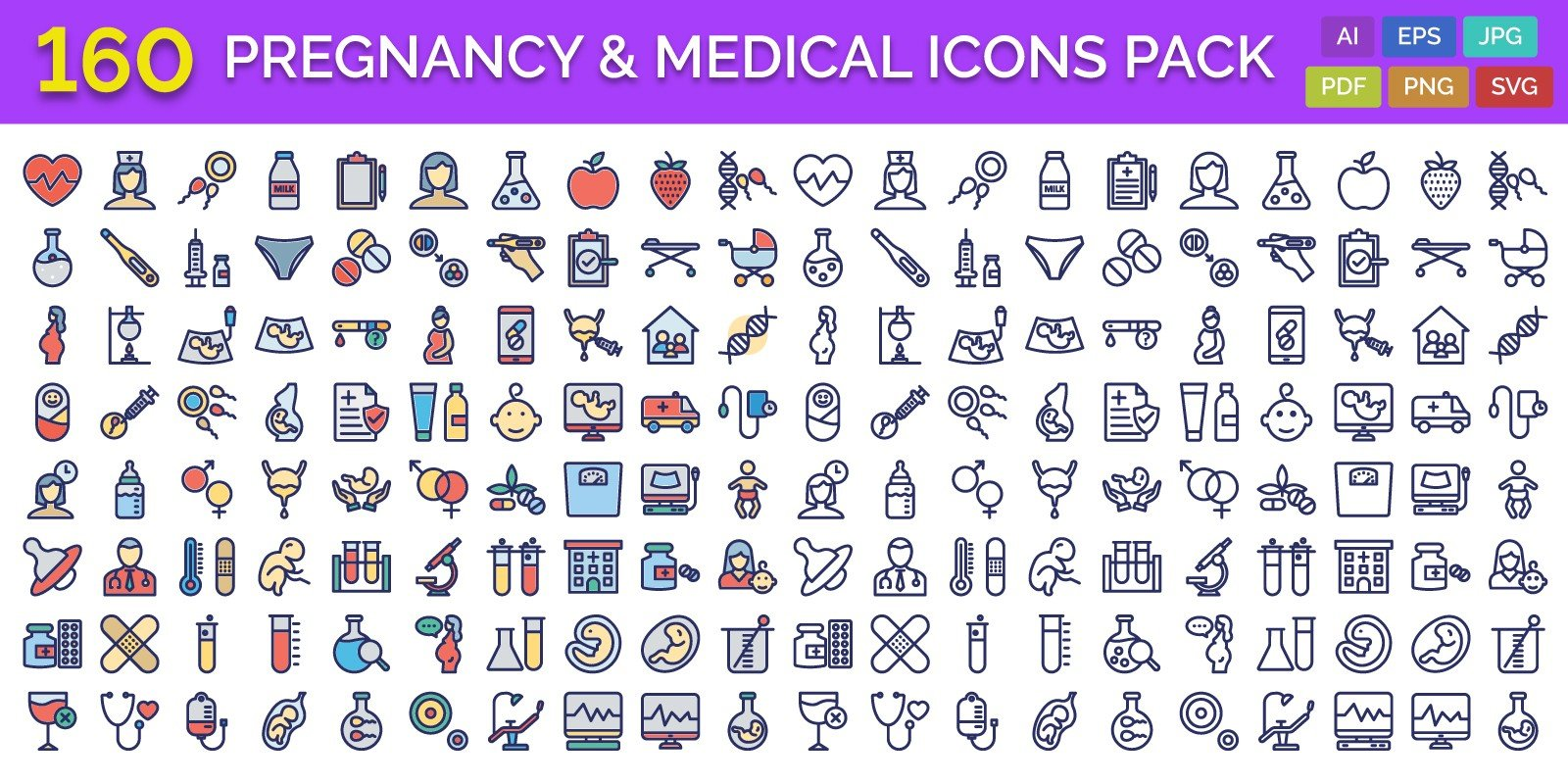 160 Pregnancy And Medical Vector Icons Pack