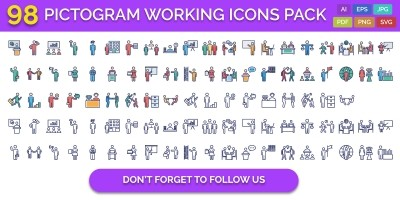 98 Pictogram Working Vector Icons Pack