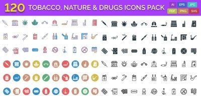 120 Tobacco Nature And Drugs Vector Icons Pack