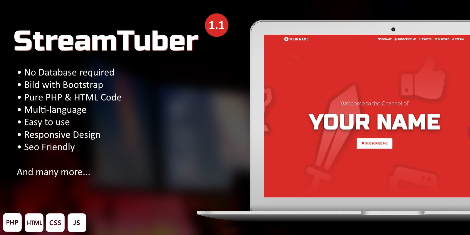 StreamTuber - YouTuber and Streamer Website CMS