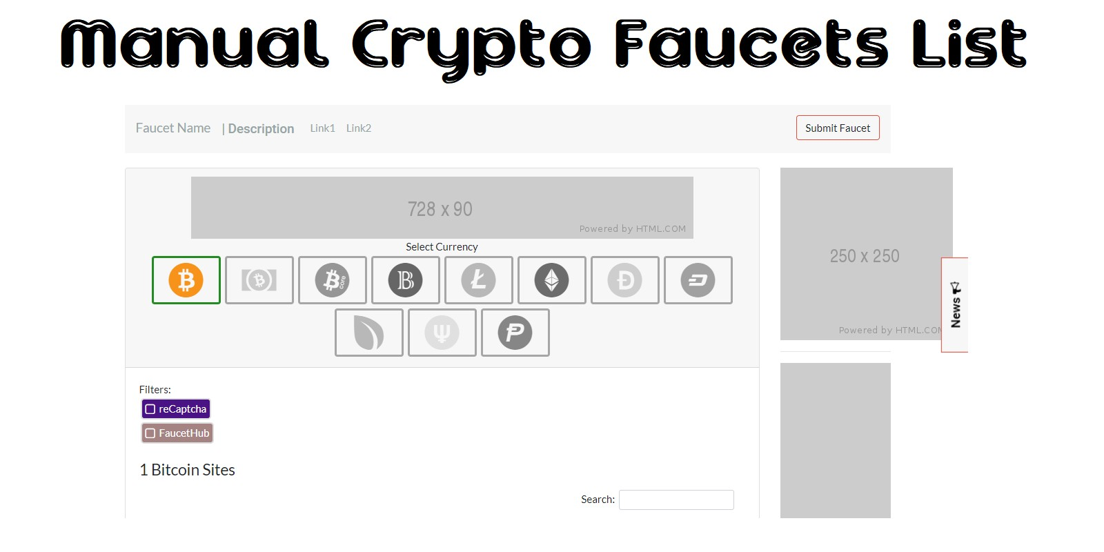 Manual Crypto Faucets List PHP Script
