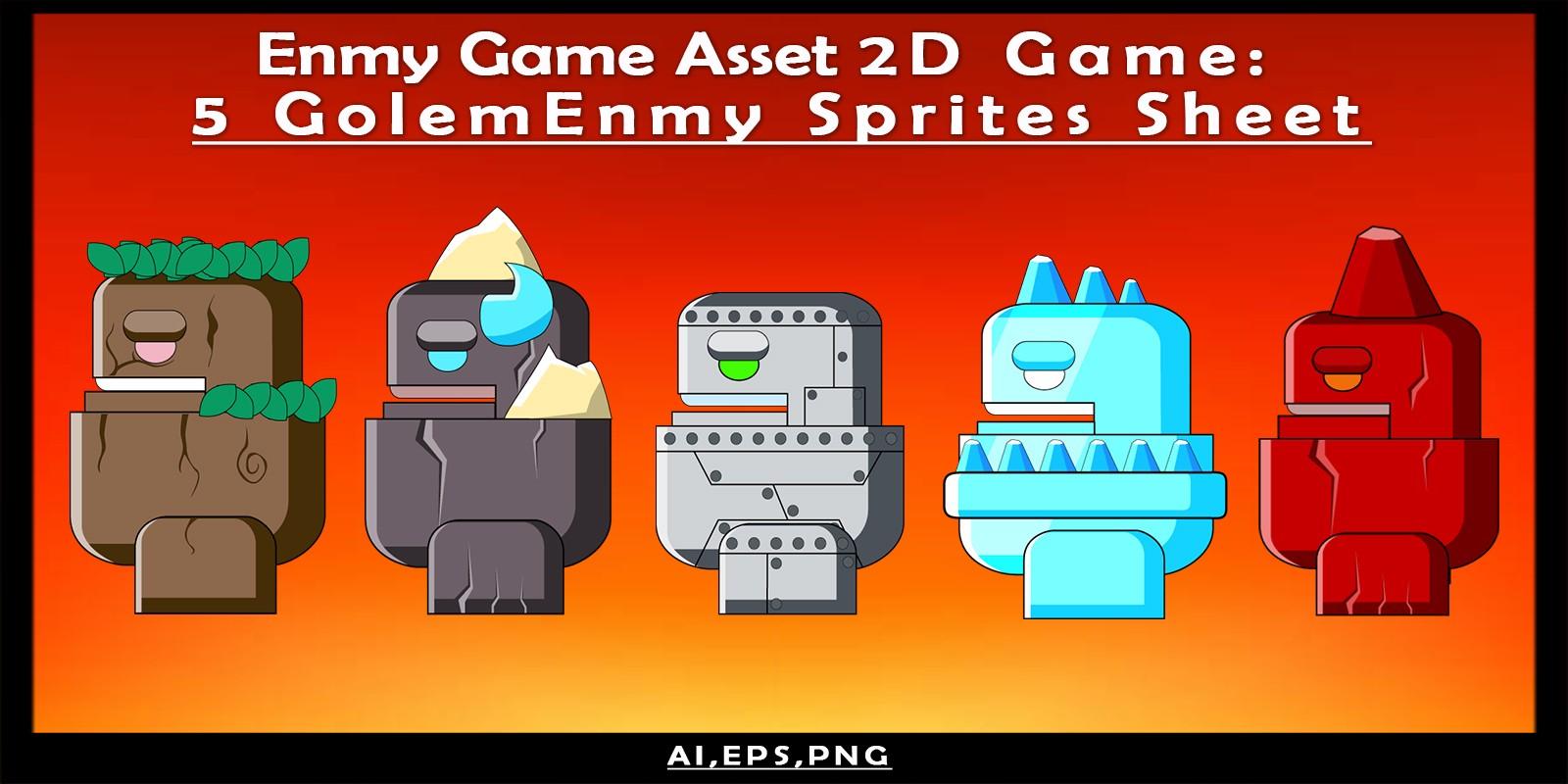 Enmy Game Asset 2D Game: 5 Golem Enmy Sprites