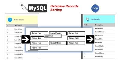 MySQL Drag and Drop Record Sorting  - PHP Script