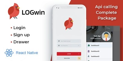 LOGwin Register Login And Navigation Drawer - Reac