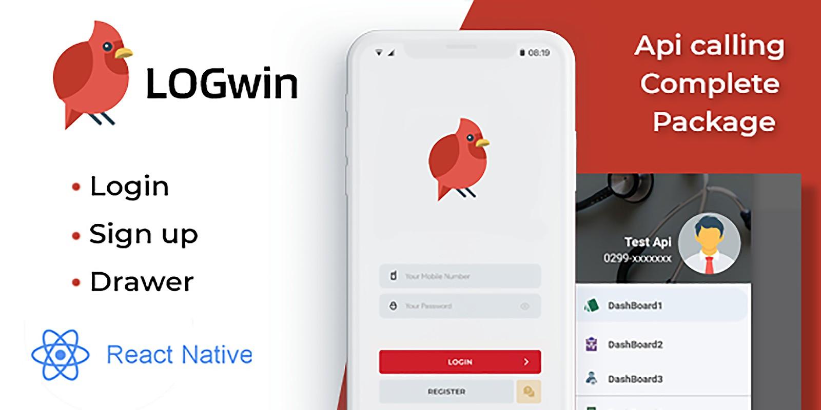 LOGwin Register Login And Navigation Drawer - Reac