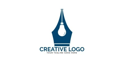 Pen Nib And Bulb Logo Design