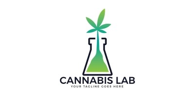Cannabis Lab Vector Logo Design