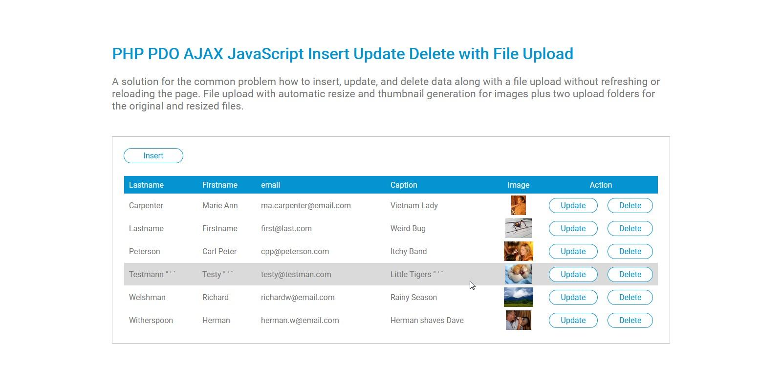 PHP PDO AJAX File Upload