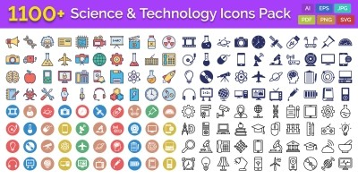 1100 Science And Technology Vector Icons Pack