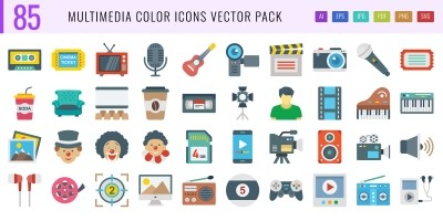 85 Multimedia Color Vector Icons Pack
