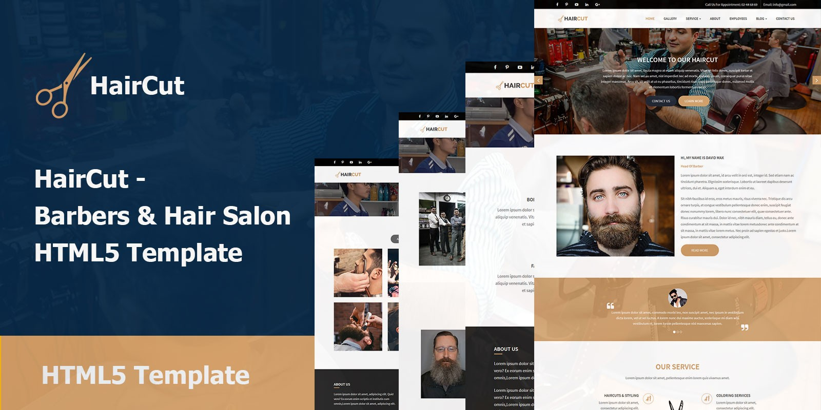 HairCut - Barbers And Hair Salon HTML5 Template