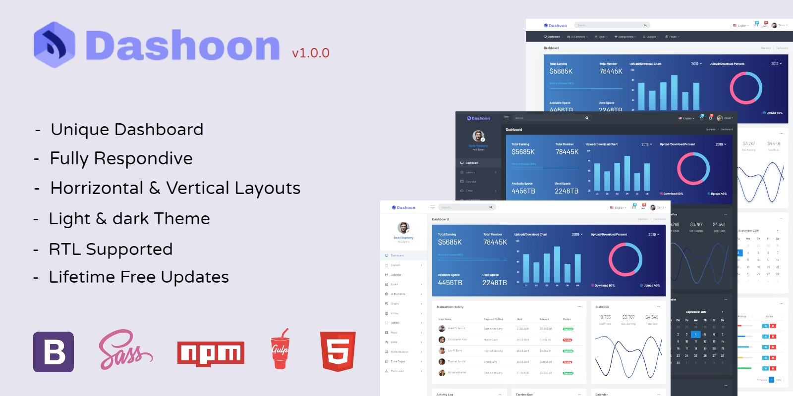 Dashoon - Responsive Bootstrap 4 Admin Dashboard