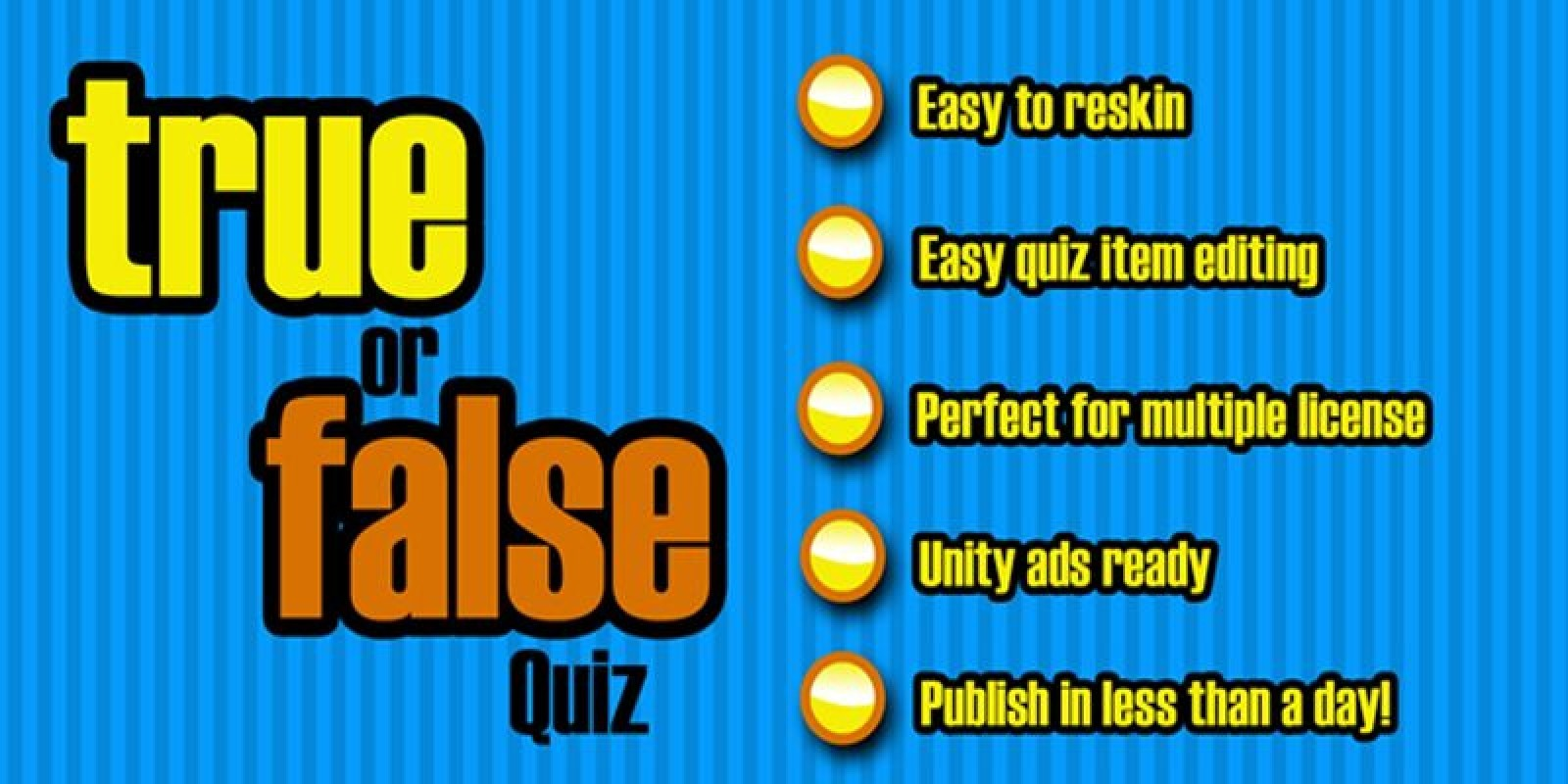 True Or False Quiz - Unity Game Source Code