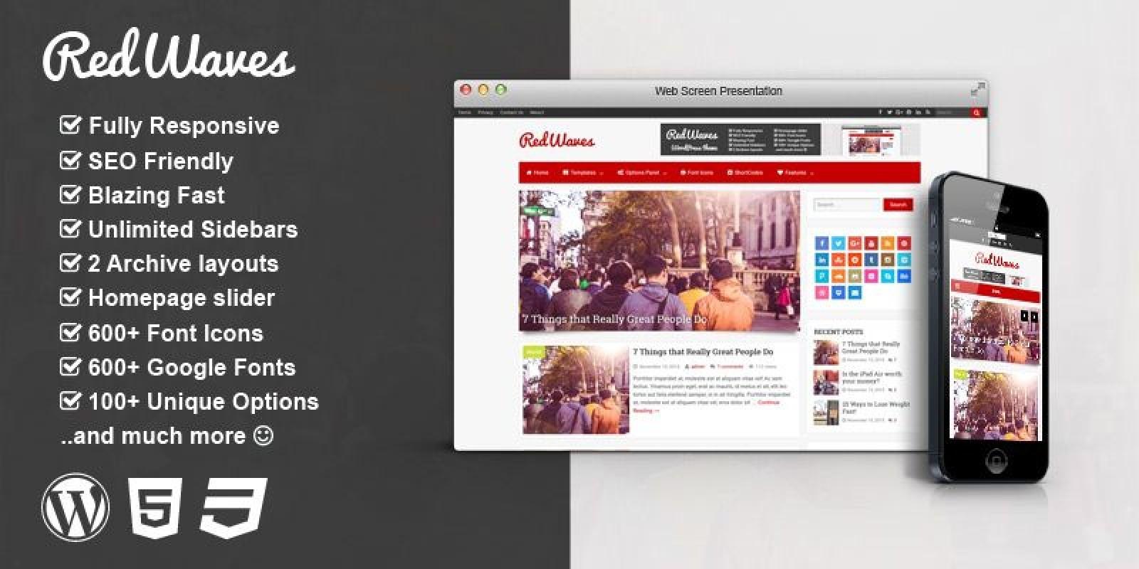 RedWaves - Modern WordPress Blog Theme