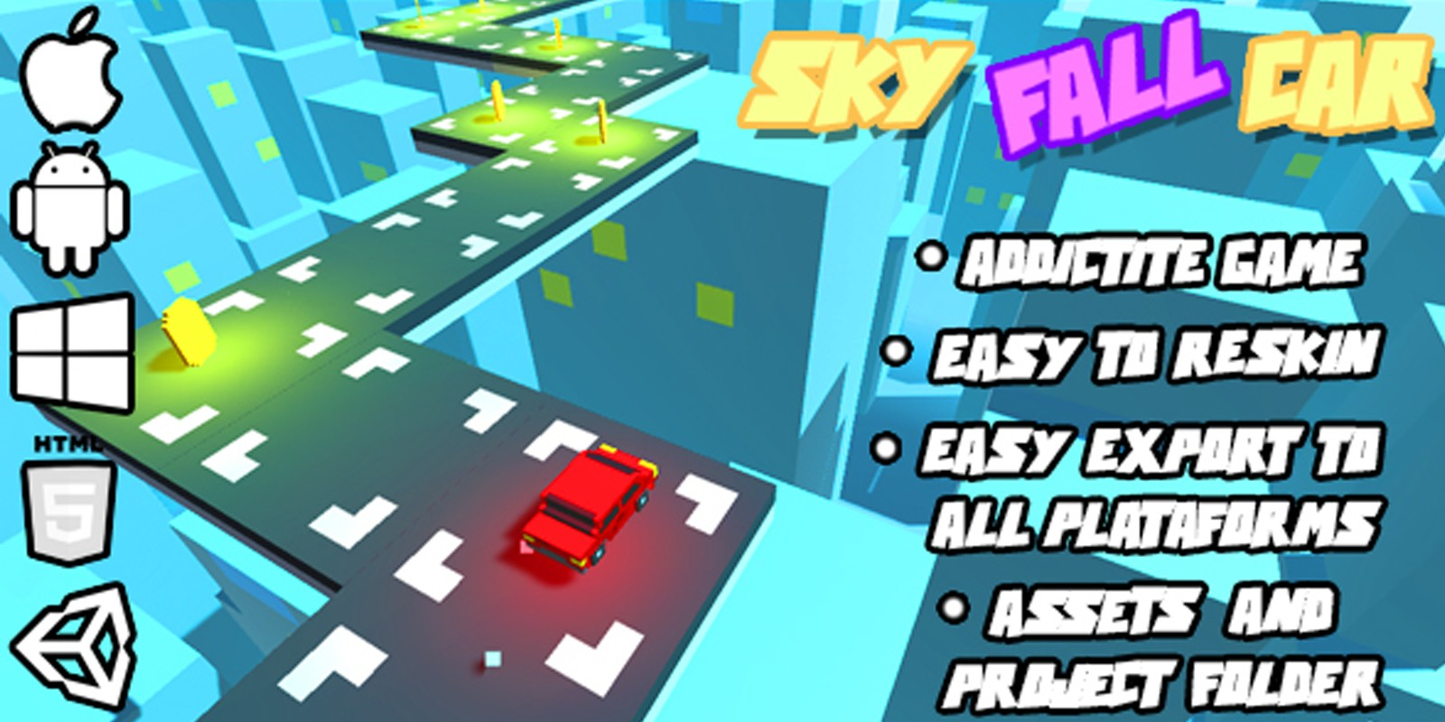 Sky Fall Car - Unity Project And Assets