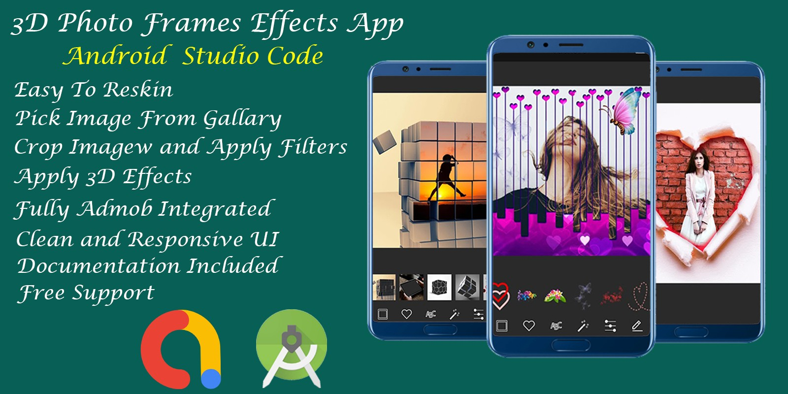 3D Photo Frame Effects App - Android Studio Code