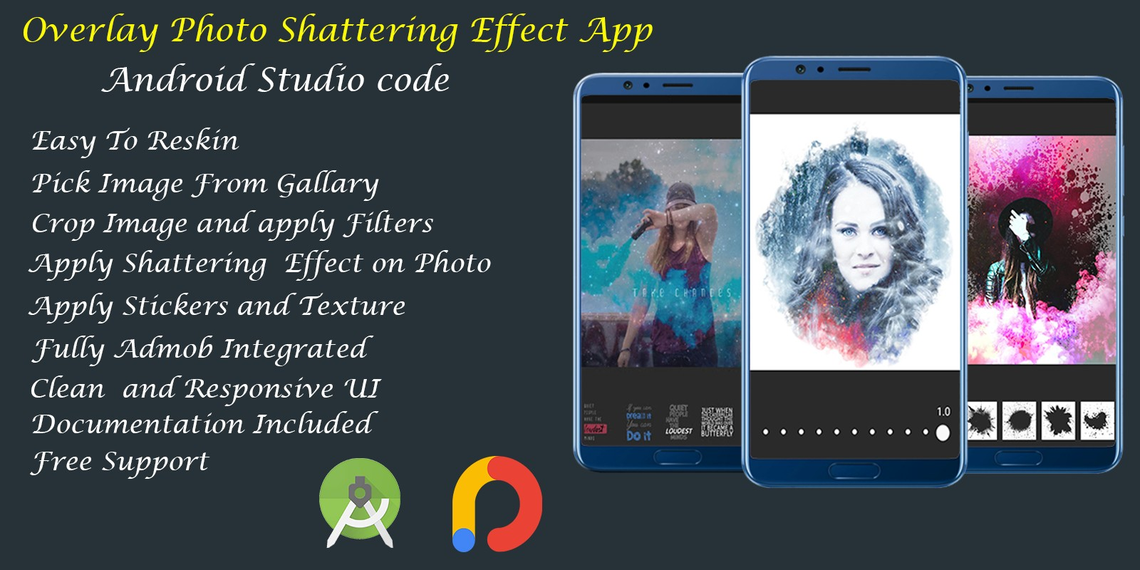 Overlay Photo Shattering Effect Photo Editor