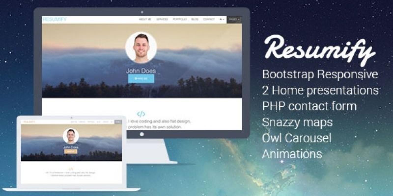 Resumify - Responsive Resume HTML Template - HTML Resume Website ...
