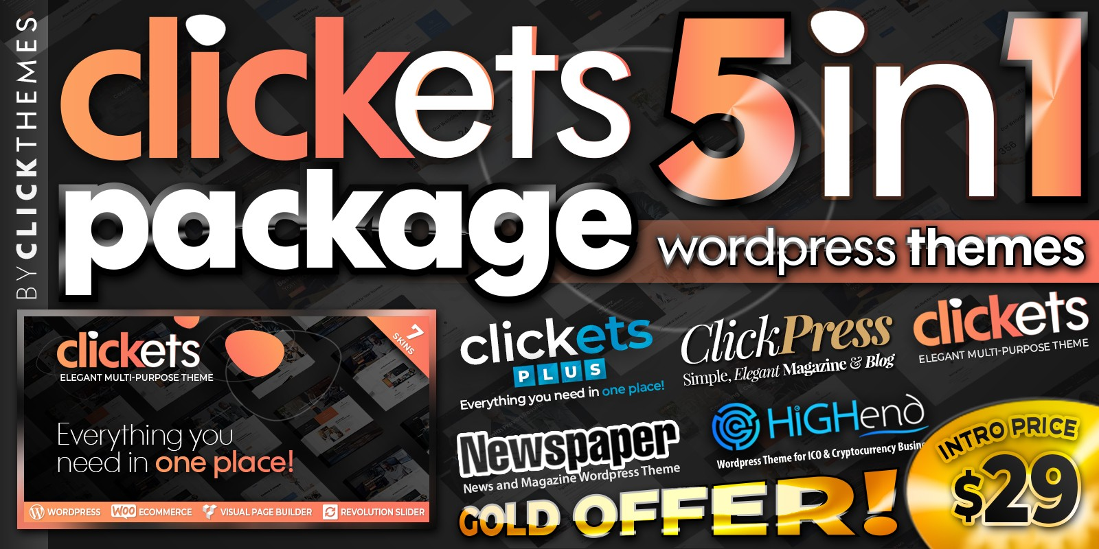 Clickets Package - 5 In 1 WordPress Themes