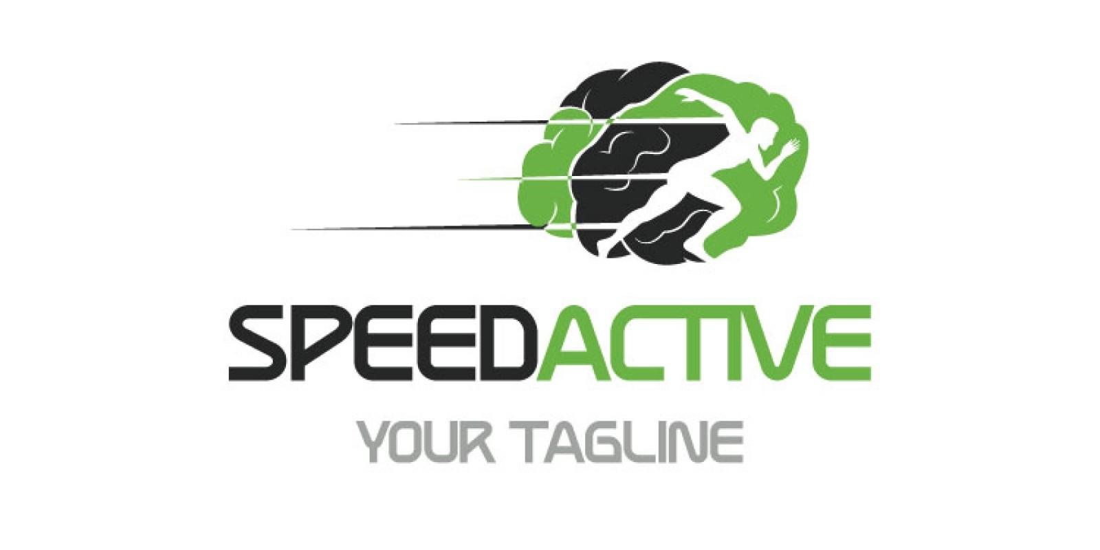 Brain Shape Speed Running Logo