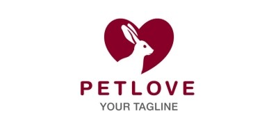 Rabbit Heart Shape Logo