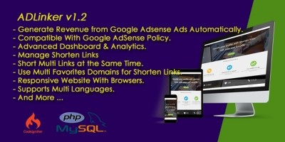 ADLinker - URL Shortener And Google Adsense Script
