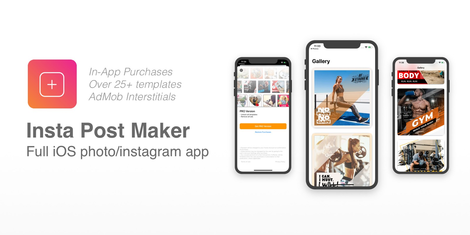 Insta Post Maker - Full iOS app With iAP Purchases