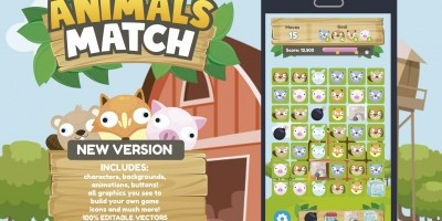 Animals Match 3 Game Assets Graphics
