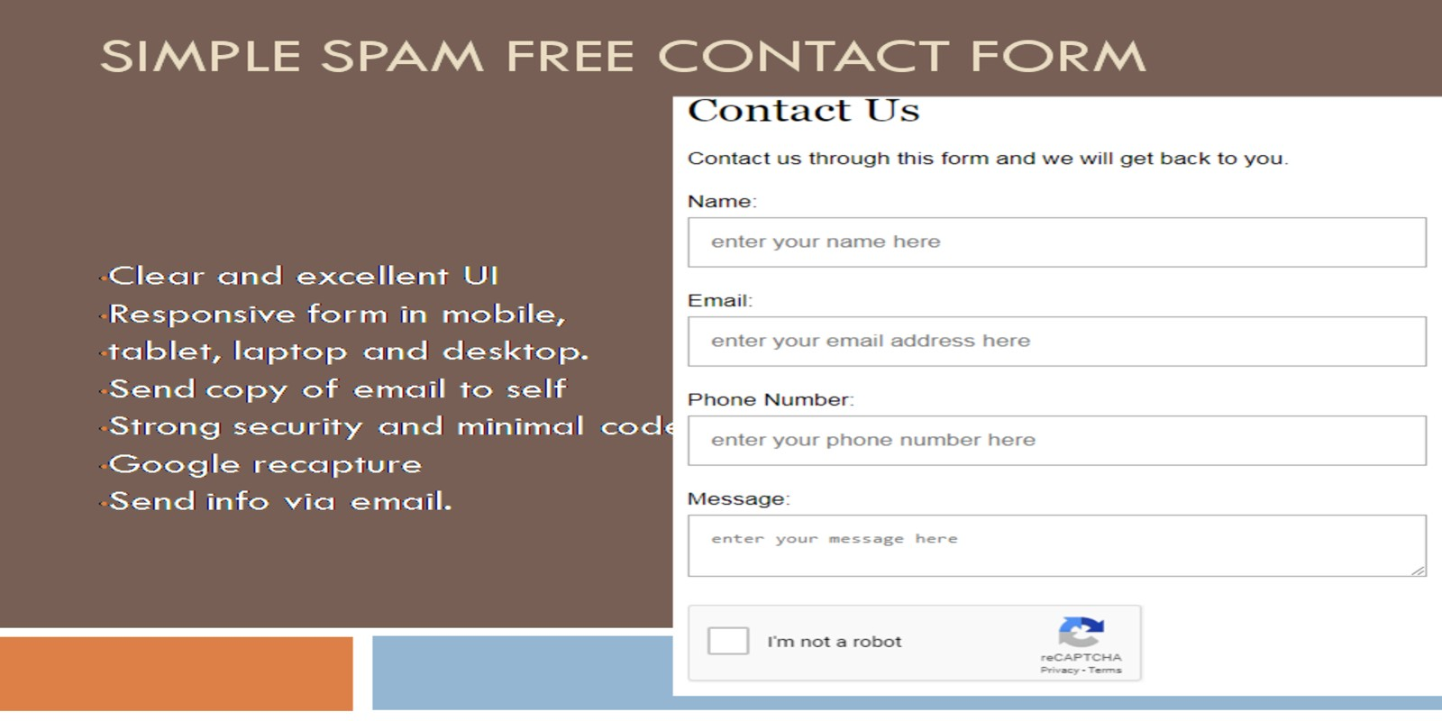 Simple Secure Contact Form With reCAPTCHA