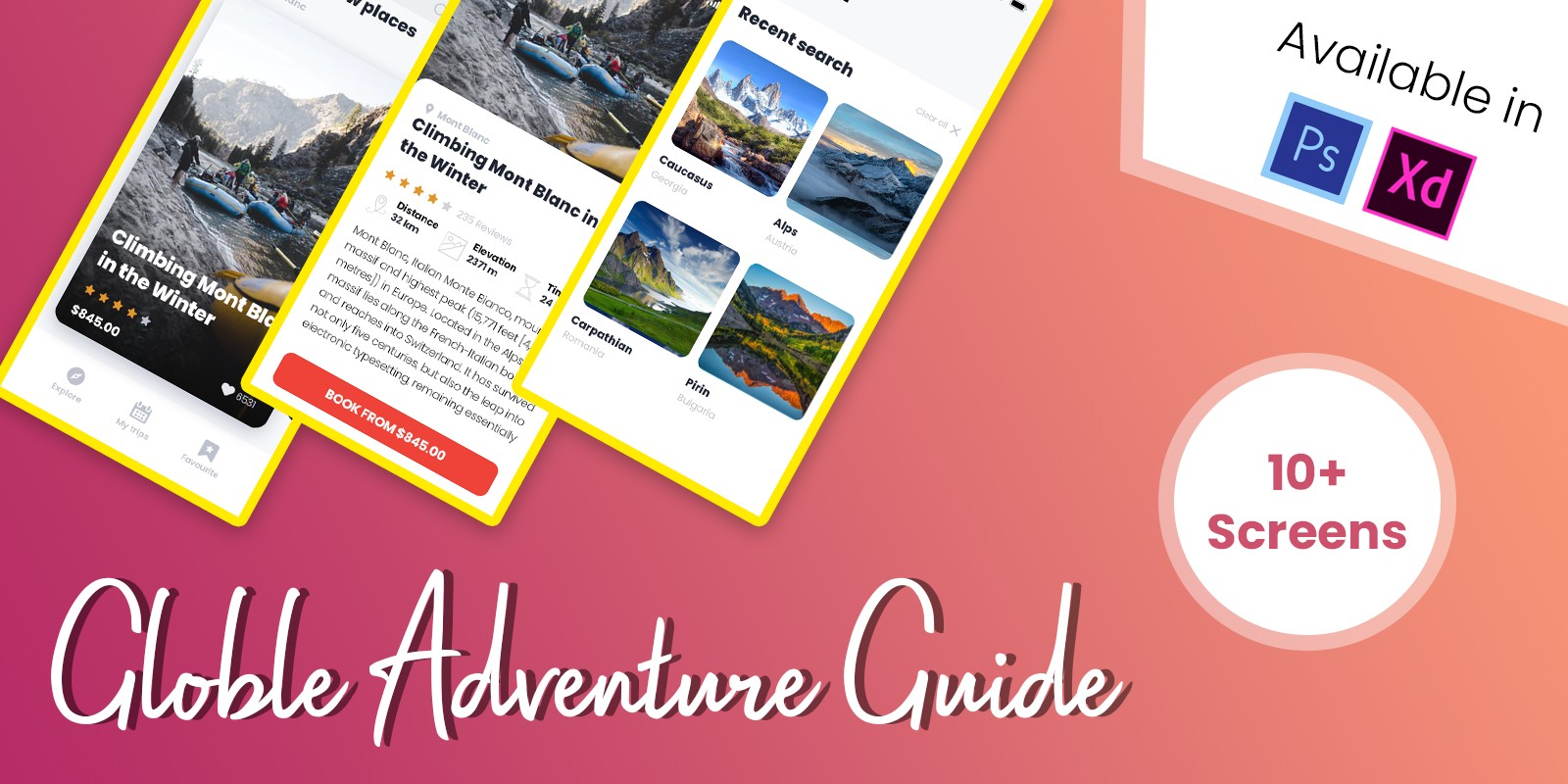 Globle Adventure Guide App UI Design